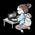 赤ちゃんをおんぶして仕事をするママブロガー イラスト