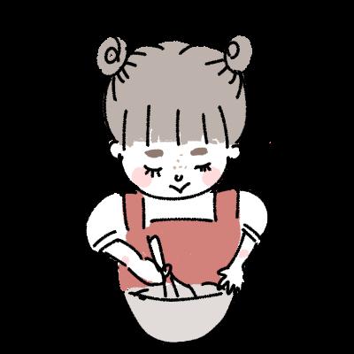 お菓子を手作りする女の子 イラスト