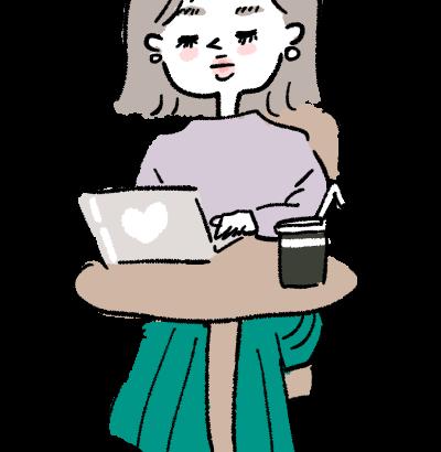 カフェでpc作業をする女性ブロガー イラスト