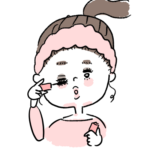 メイクをする女の子イラスト