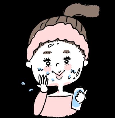 スキンケアを楽しむ女の子イラスト