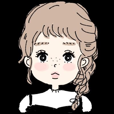 ゆるふわ三つ編みヘアーの女の子イラストアイコン