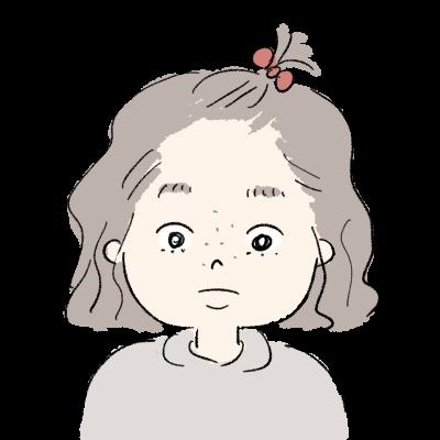 すっぴんちょんまげの女の子 真顔のイラスト