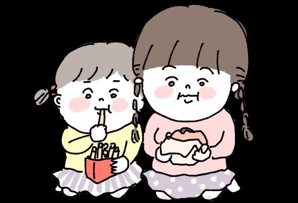 ファストフードを食べるこども姉妹イラスト