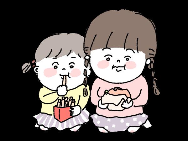 ファストフード こども 食事 姉妹 一緒に食べる ごはん ポテト ハンバーガー イラスト