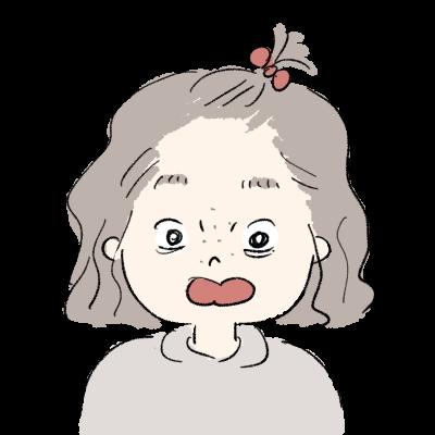 すっぴんちょんまげの女の子 驚いた顔イラスト