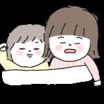 一緒に眠る仲良し姉妹イラスト