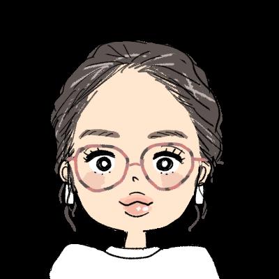 オールバックまとめ髪のメガネ女子イラストアイコン
