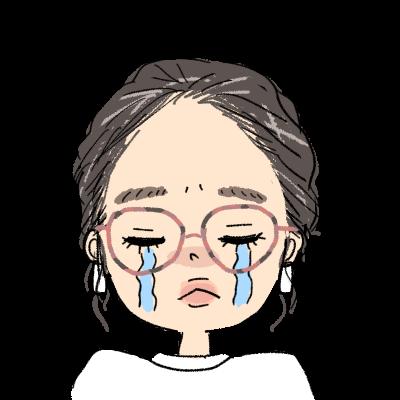おしゃれ オールバック まとめ髪 小麦肌 メガネ女子 イラスト アイコン 涙 泣き顔しくしく