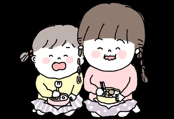 お弁当を食べるこども姉妹イラスト