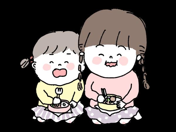 仲良し 姉妹 お弁当 お出かけ こども いっしょに食べる