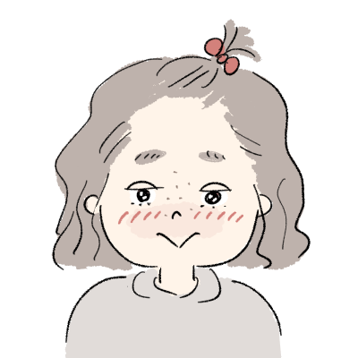 すっぴんちょんまげの女の子 照れる顔イラスト