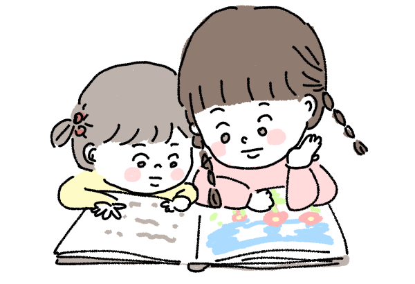 絵本を読む 姉妹 こども 仲良し