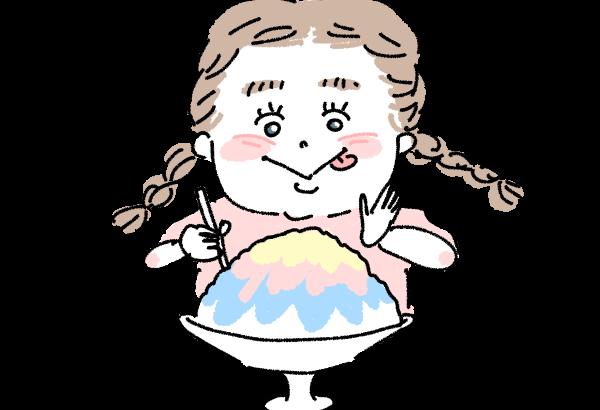かき氷をおいしそうに食べる女の子 イラスト