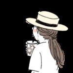 カフェオレを飲みながら歩くカンカン帽子を被った女性の後ろ姿 イラスト