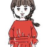 赤いワンピースの女の子 ファッションイラスト
