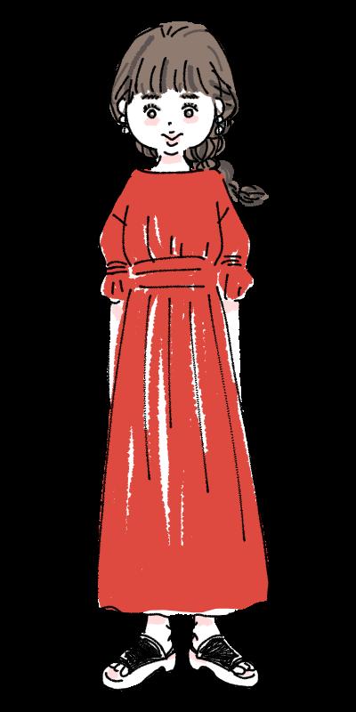 赤いワンピース 女の子 おしゃれ 可愛い ファッション  イラスト