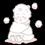 お風呂上がりにタオルに包まれる赤ちゃん イラスト