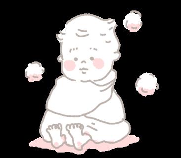 お風呂お風呂上がり タオル 包む 赤ちゃん こども イラスト ゆるい