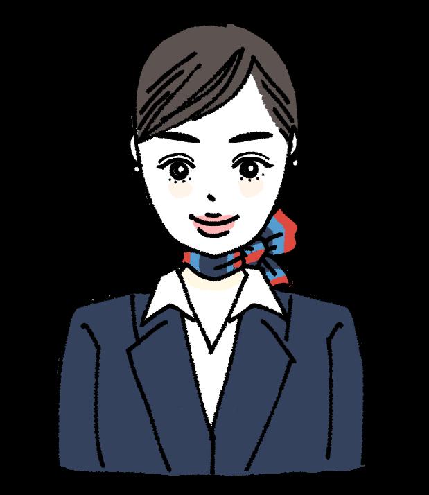 CA キャビンアテンダント 働く女性 キャリアウーマン スカーフ 女の人 手書きイラスト 無料素材 かわいい