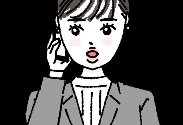 電話をするお仕事中の働く女性 キャリアウーマン イラスト