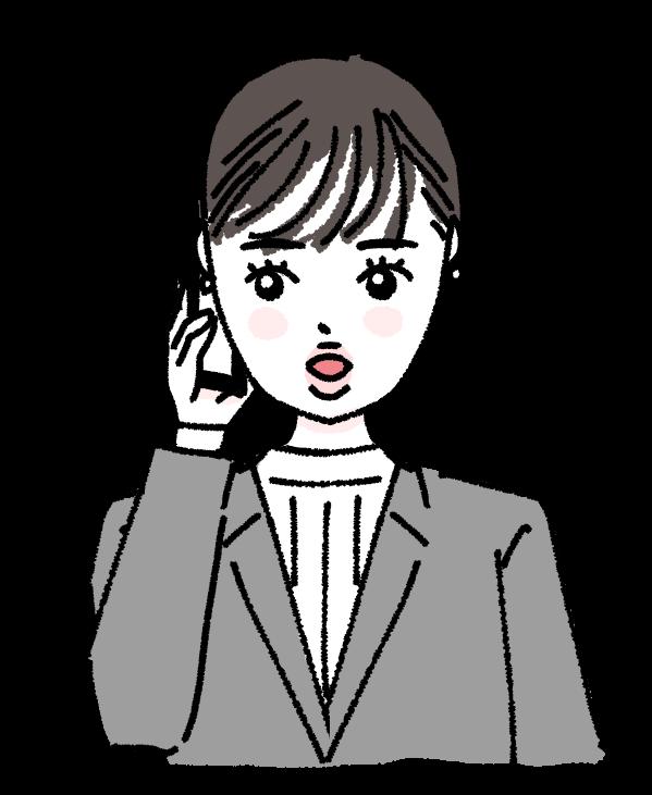 働く女性 ワーク キャリアウーマン お仕事 仕事 電話 イラスト 打ち合わせ 手描き ゆるい