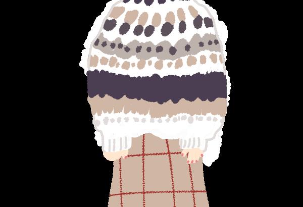 ノルディック柄のニットを着たマッシュボブの女の子イラスト
