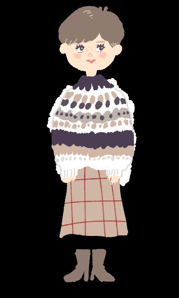 ノルディック ニット セーター おしゃれ ファッションイラスト 手描き マッシュボブ 絵 ショートカット