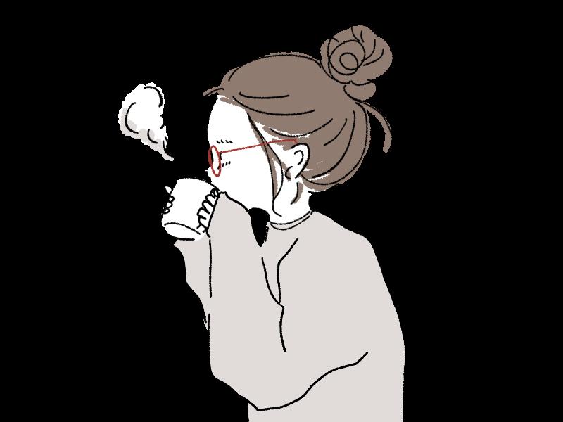 寝起き モーニング ホットコーヒー ホットココア 女の子 あったかい ぬくぬく すっぴん メガネ おだんんご ゆるいイラスト 手書き 手描きiPad