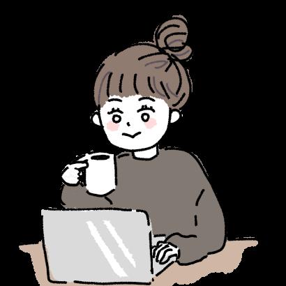 自宅pcで在宅勤務する女性