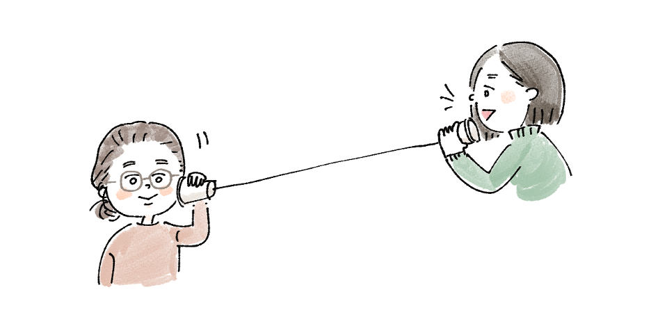 糸電話 ヒアリング ゆるい 手描き イラスト イラストレーター